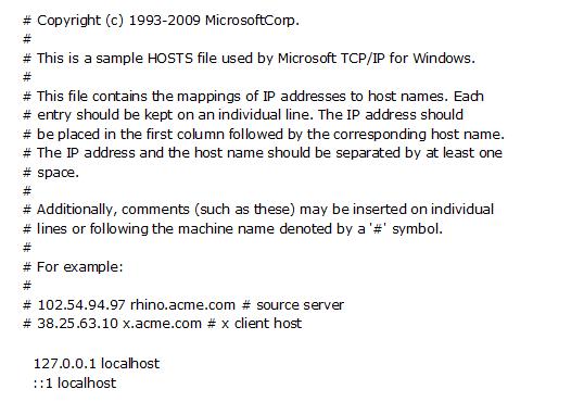 Как должен выглядеть файл Hosts на Windows 7