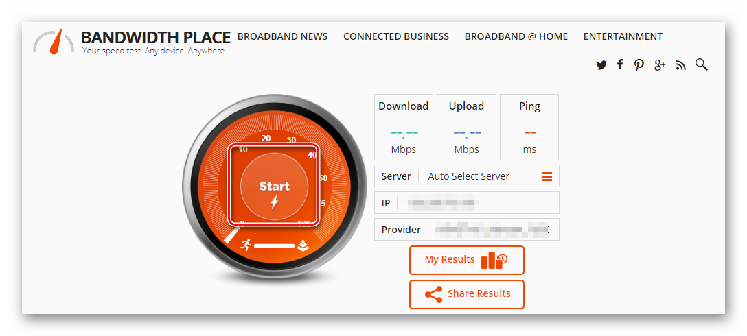 Нажмите кнопку Start BandwidthPlace