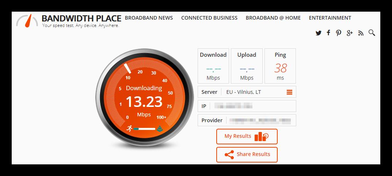 Подождите, пока тестируется интернет соединение BandwidthPlace