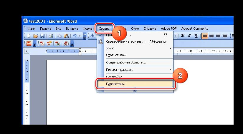 Параметры в старой версии Microsoft Word