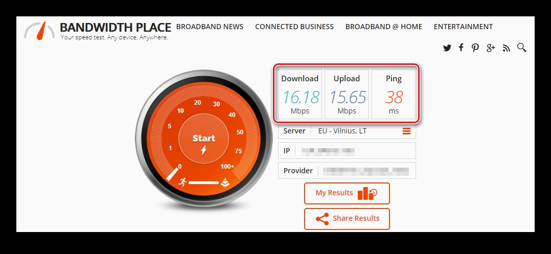 После окончания теста вы увидите результаты BandwidthPlace