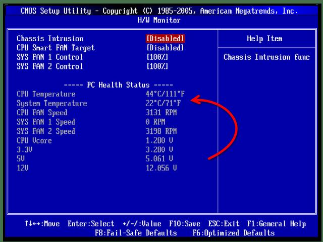 Температура центрального процессора в BIOS