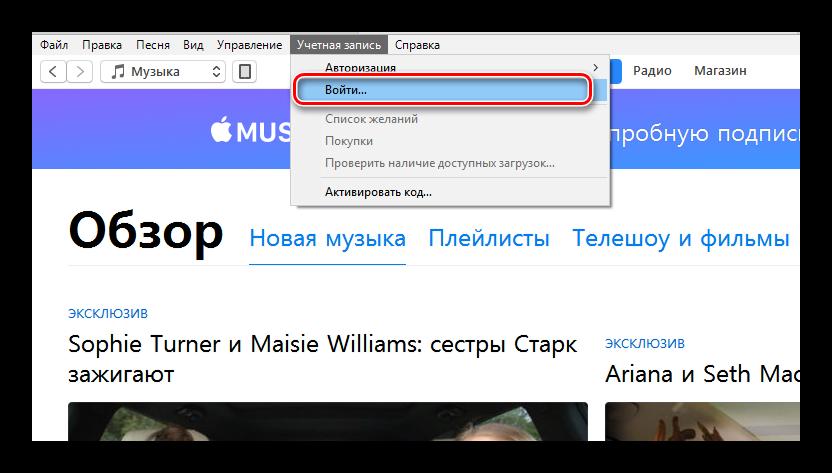 Вход в учетную запись в приложении iTunes