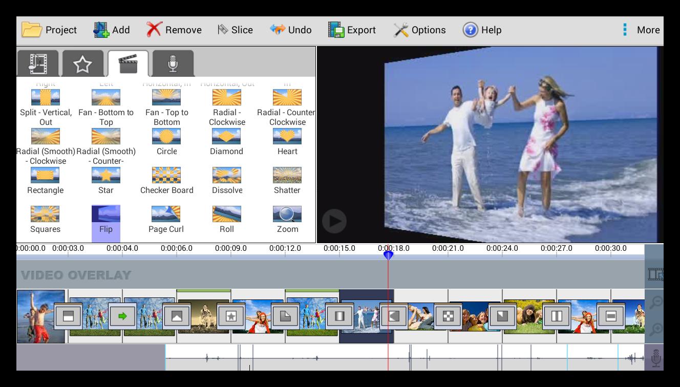 Videopad создание переходов