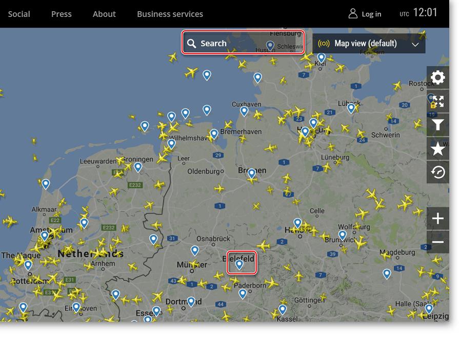 Меню поиска самолета на сайте FlightRadar24
