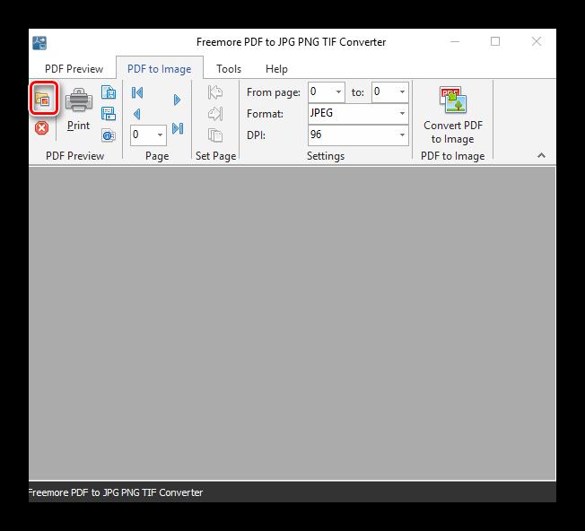 Начальная страница конвертера Freemore PDF to JPG PNG TIF Converter
