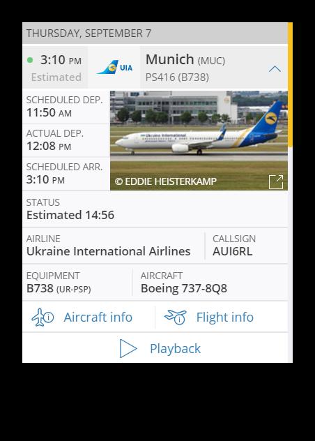 Основные данные о самолете и рейсе на FlightRadar24