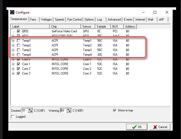 Отключение не определившихся компонентов в SpeedFan