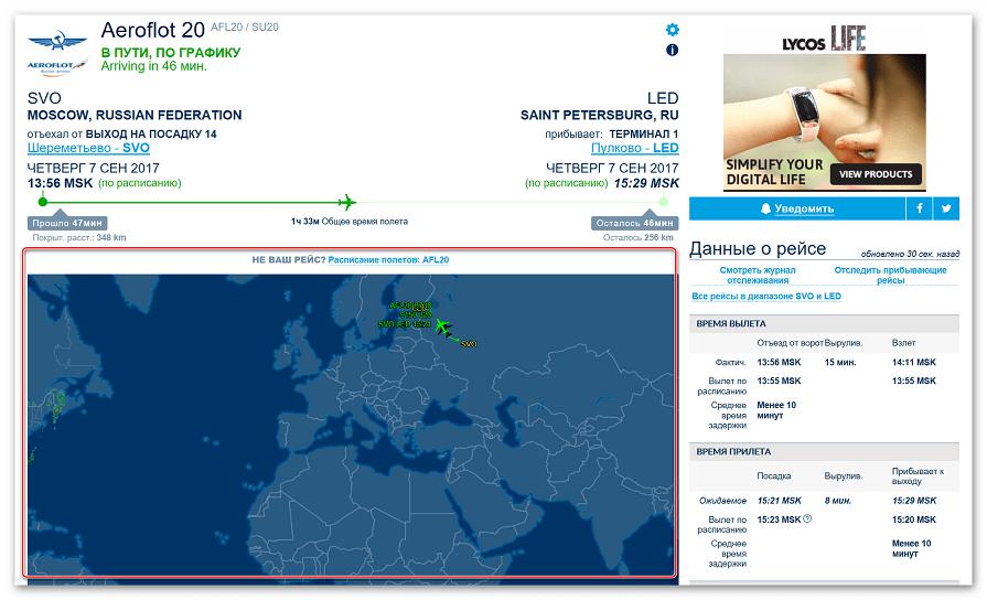 Отображение маршрута самолета и основной информации о рейсе на сайте Flightaware