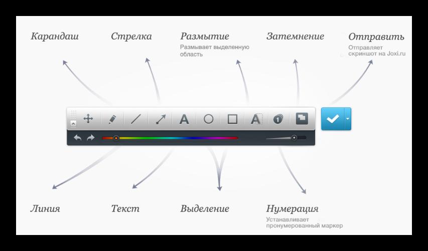 Панель инструментов программы Joxi