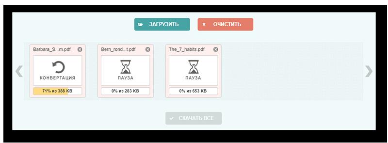 Процесс конвертации файлов pdf в jpg на сайте Pdftoimage
