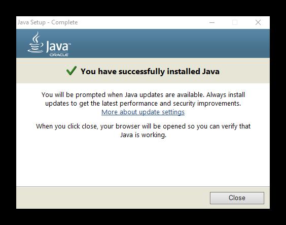 Успешная операция инсталяции ПО Java