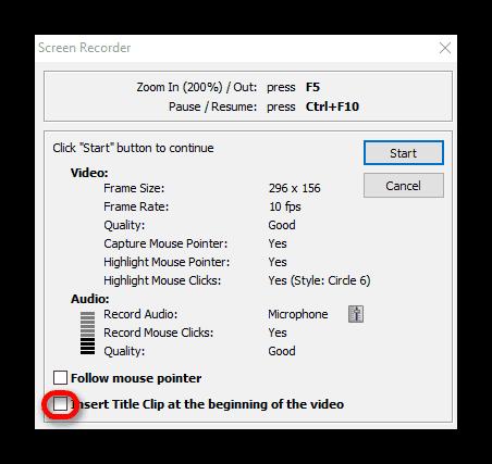 Добавить вступительный текст к видео в FastStone Capture
