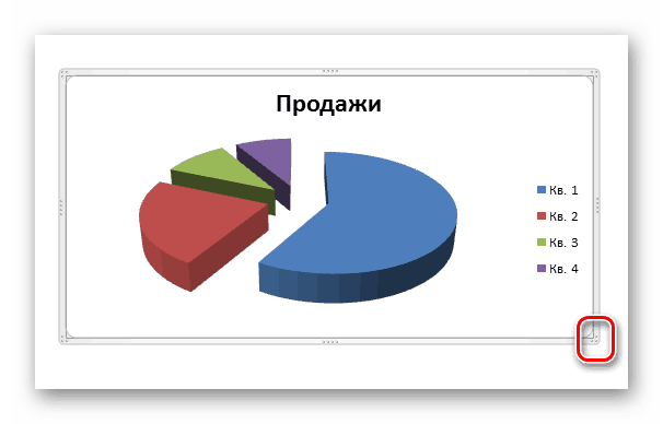 Изменение размера диаграммы в Ворд