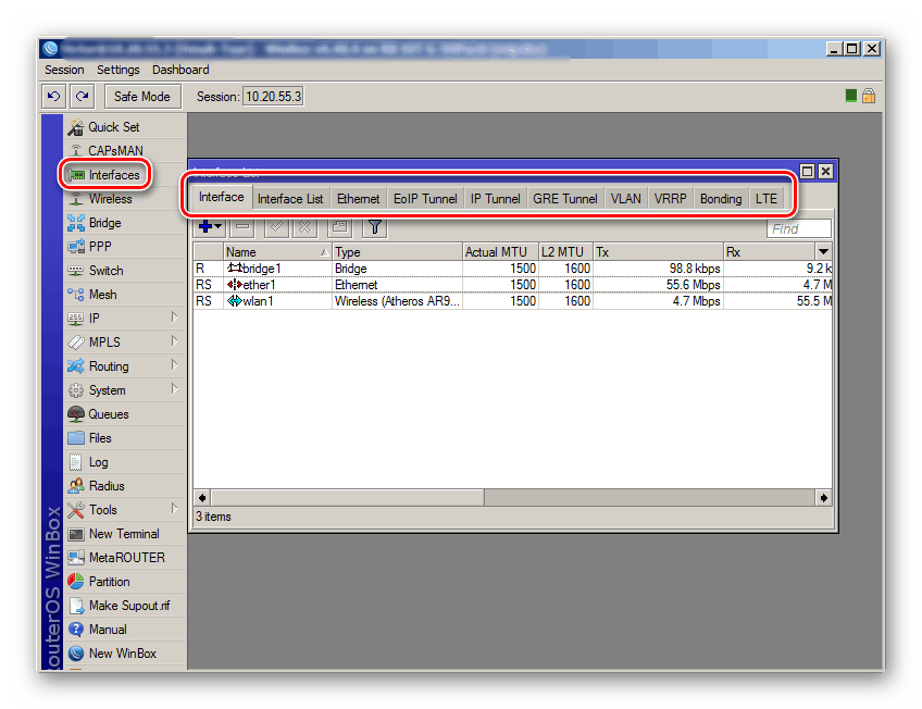 Окно настройки сетевых интерфейсов в winbox