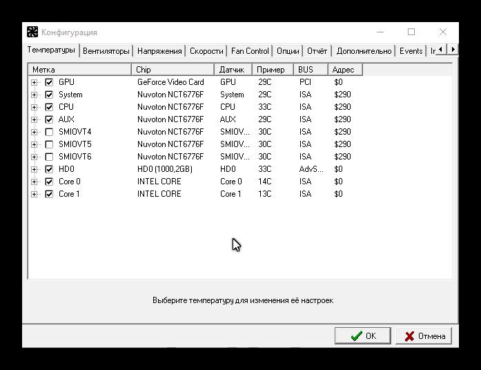 Раздел конфигурация Speedfan