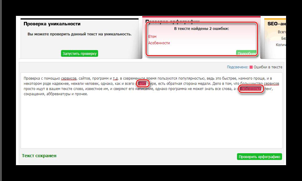 Результат проверки правописания TEXT.ru