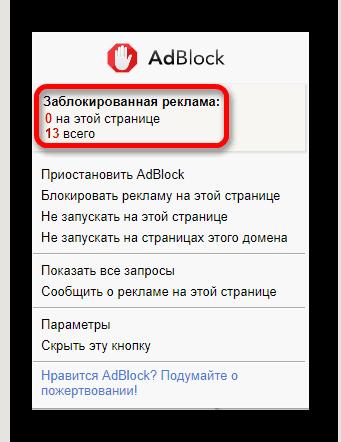 Статистика заблокированной рекламы AdBlock
