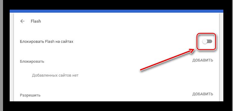 Бегунок включения Flash Player в настройках контента браузера Google Chrome