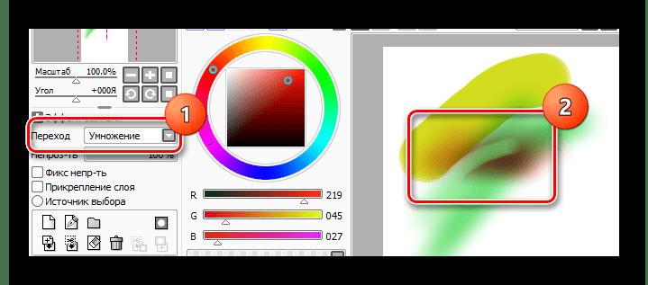 Использование умножения при наложения слоя в paint tool sai