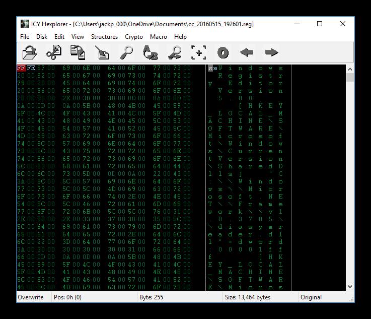 Окно hex-редактора Hexplorer