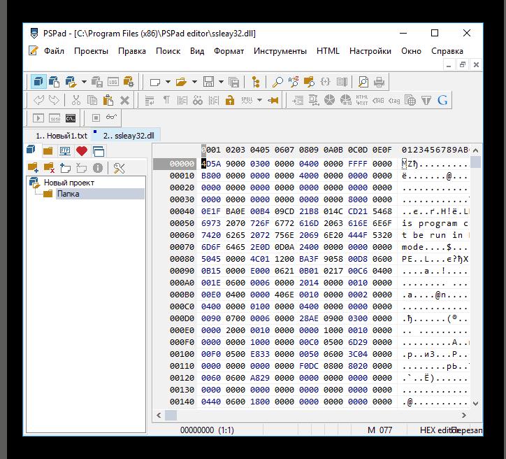 Окно hex-редактора PSPad