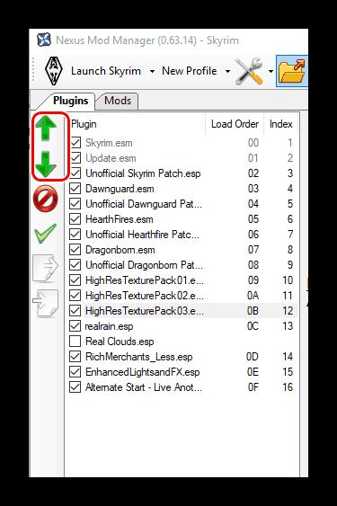 Перемещение плагинов в Nexus Mod Manager