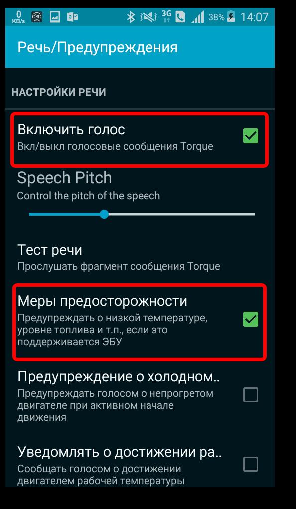 Речь, предупреждения в Torque Pro