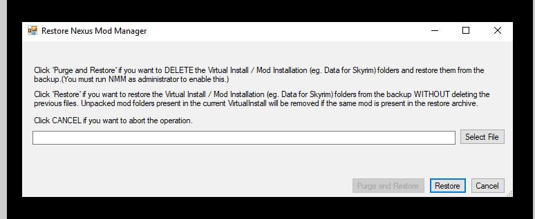 Восстановление модификаций в Nexus Mod Manager