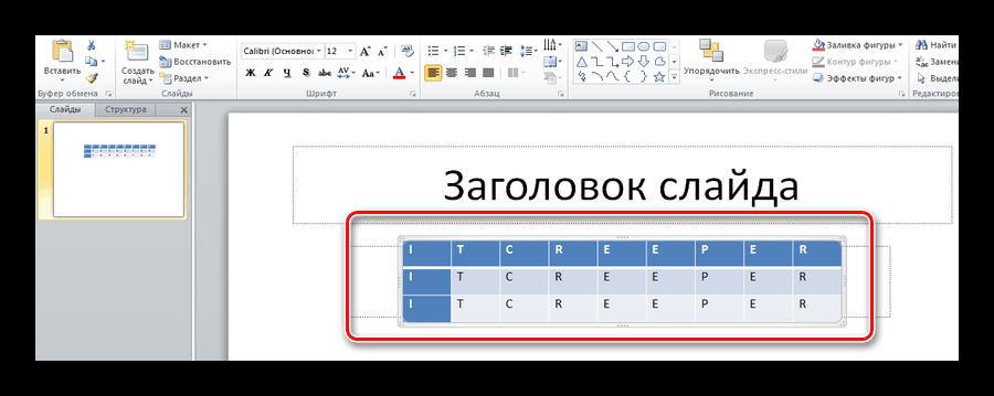 Вставленная таблица на слайде презентации PoerPoint