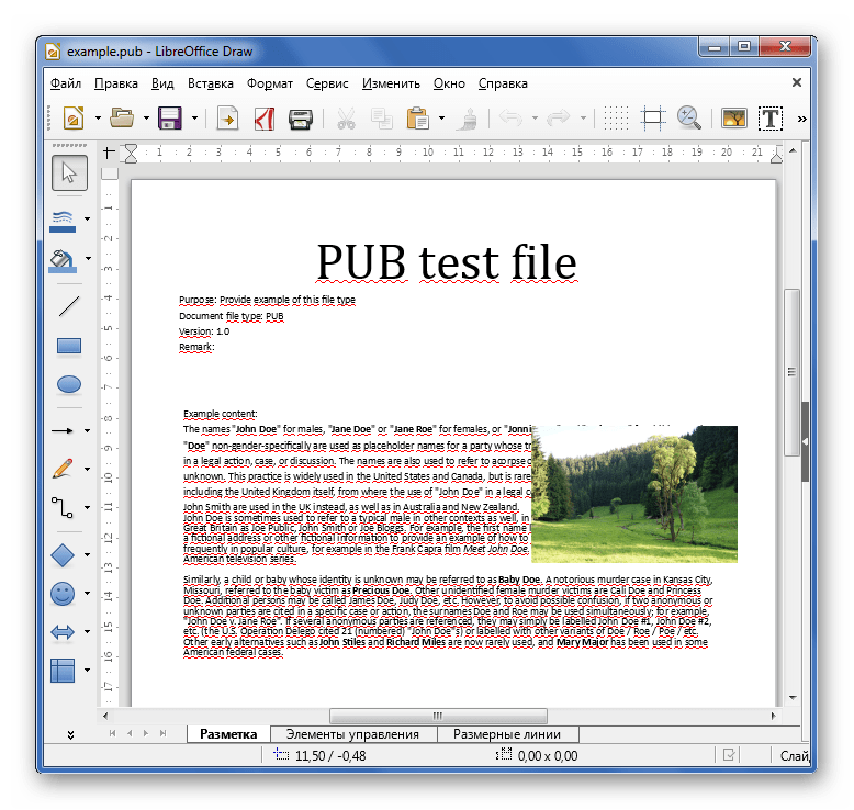 Просмотр PUB в LibreOffice