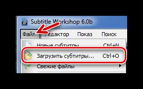 Стандартное открытие файла в Subtitle-Workshop