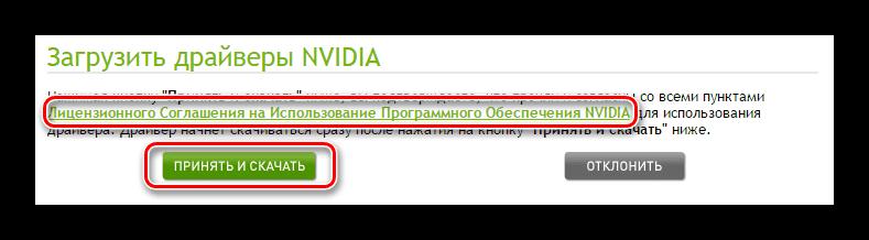 Лицензионное соглашение перед загрузкой ПО nVidia