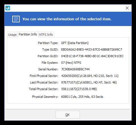 Общая техническая информация о диске в EaseUS Partition Master