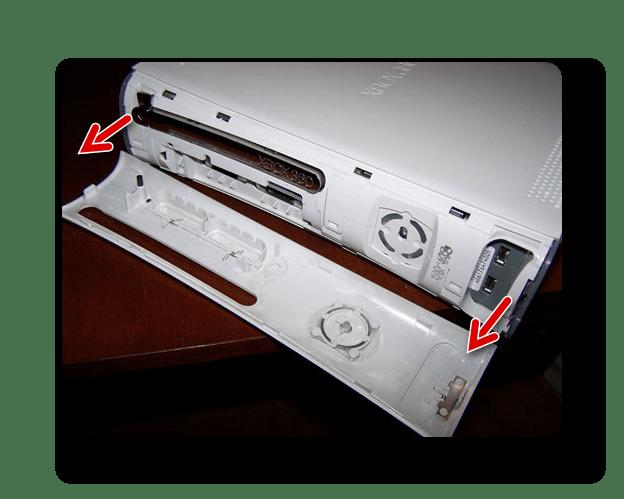 Снятие передней крышки с Xbox 360