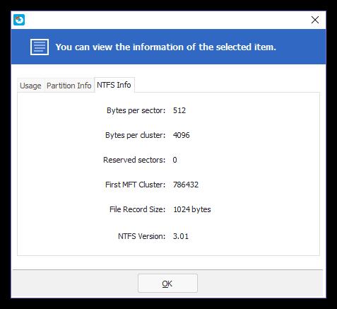 Сведения о файловой системе диска в программе EaseUS Partition Master