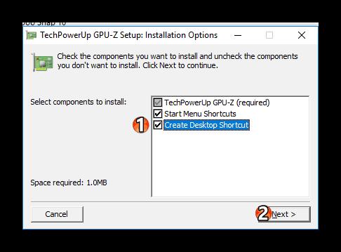 Параметры установки GPU-Z