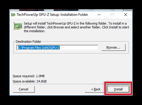 Выбор папки для установки GPU-Z
