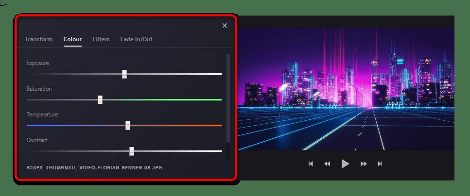 Параметры Colour для изображения в Clipchamp