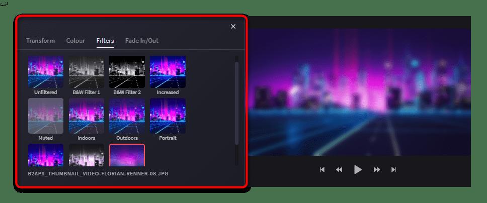 Параметры Filters для изображения в Clipchamp